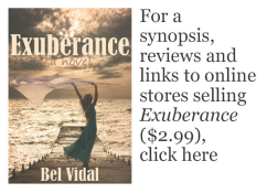 synopsis, reviews and links to online stores selling Exuberance, a novel for $2.99